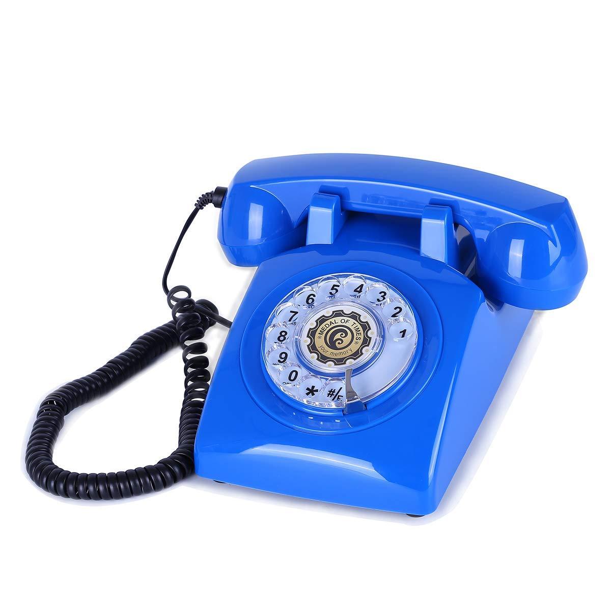 SIMTEXGREEN Rotary Dial Retro Landline Telephone Decorative Phone 1960's Style Classic Desk Telephone Home (Skyblue)