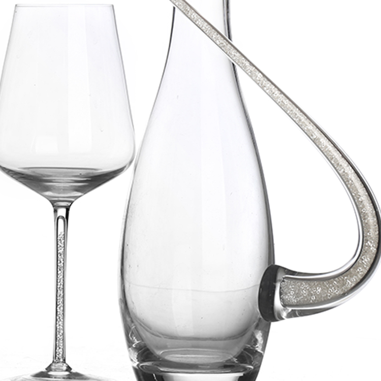 Fancy hand made crystal Red wine  Glasses and Wine Decanter with handle Set