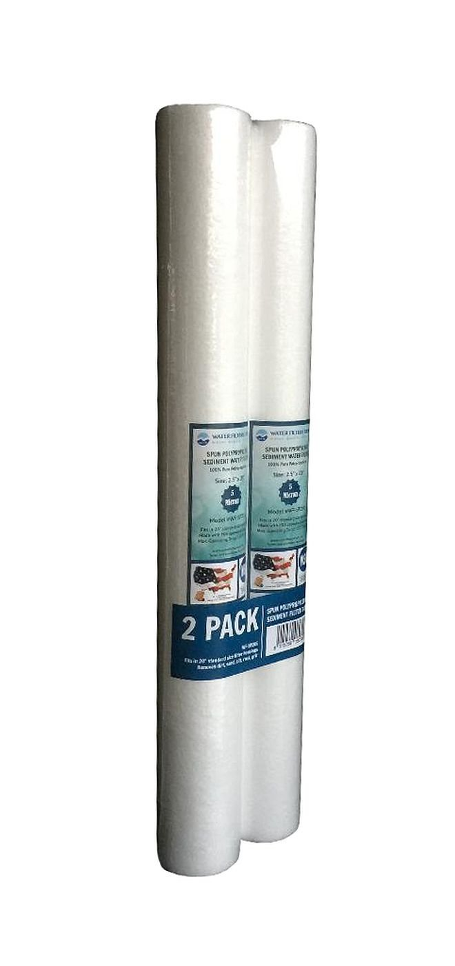 WF-SP201 2.5x20 1 Micron Sediment Water Filter Cartridge WFD 4 Pack Spun Polypropylene Fits in 20 Standard Size Housings of Filtration Systems
