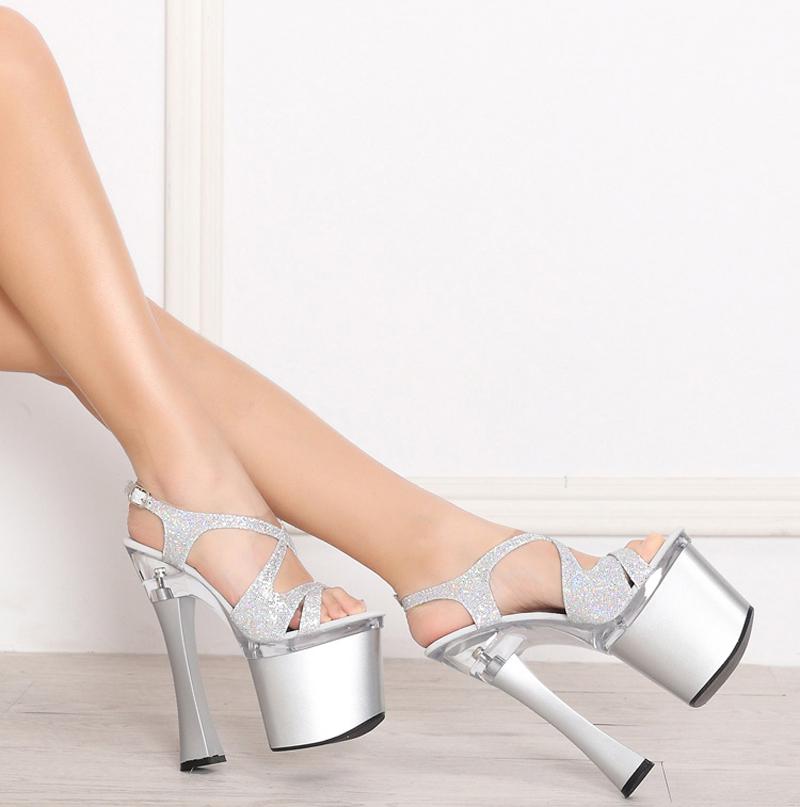07d45453e47f Get Quotations · Nightclub Sexy Sandals Big Size Platform Shoes Woman Bling  Bling Glitter Gladiator 19 CM High Heels