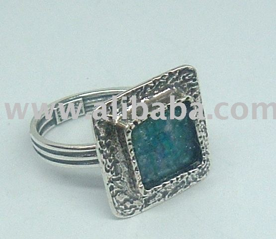 Sterling Silver Rings with Genuine Roman Glass , Israel