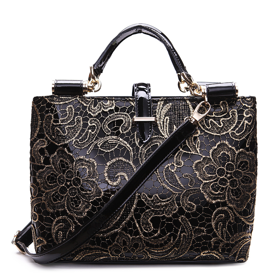 Silver leather tote bag uk - Get Quotations 2015 Vintage Lace Bags For Women Leather Handbags Tote Bags Female Retro Black Handbag Flower Grab