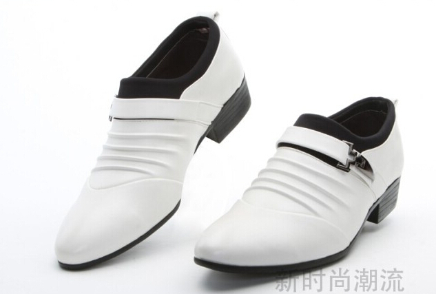 2014 pointed toe leather fashion shoes the trend of casual white male shoes fashion low single shoes