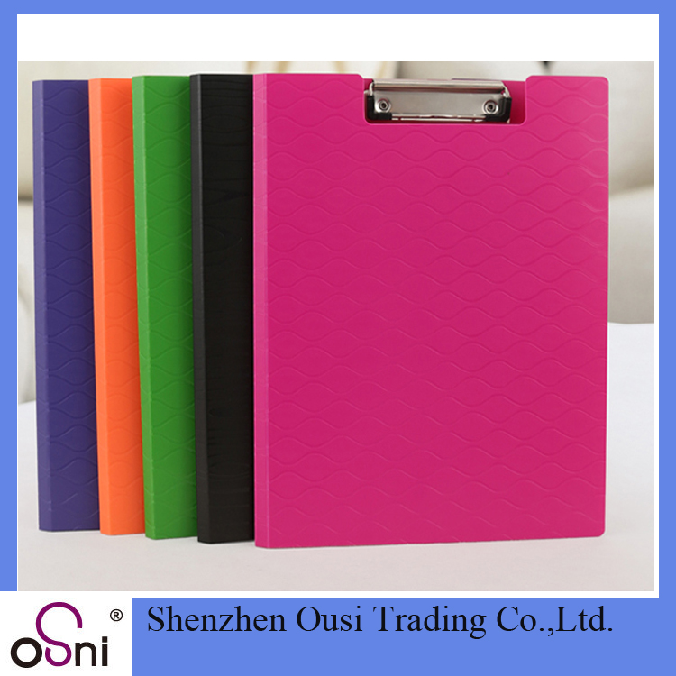 OEM business transparent storage butterfly clip clipboard with metal clip