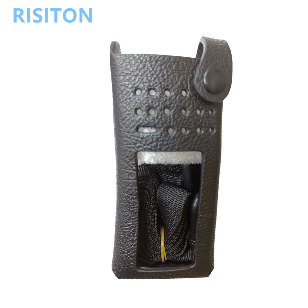 RISITON New Hard Leather Carryinyg Case  two way radio  xirp8668 gp338d Walike Talike Radio Leather Case for motorola