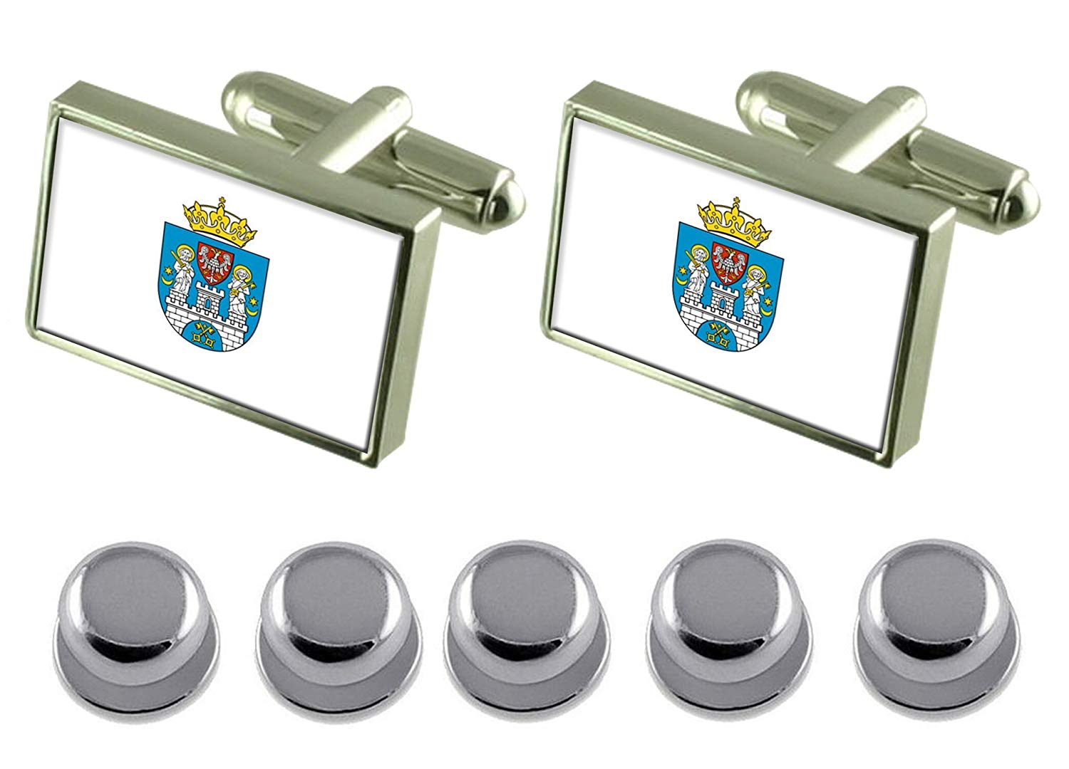 Select Gifts Shirt Dress Studs Legnica City Poland Flag Cufflinks