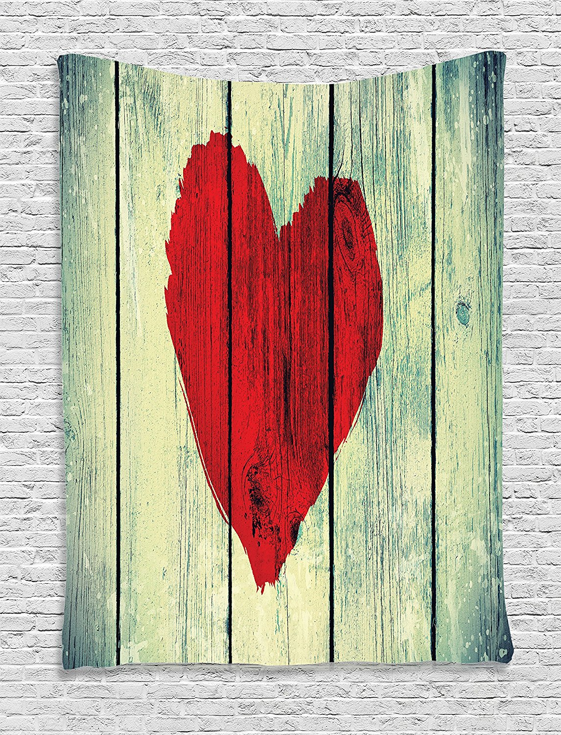 Get Quotations · Love Decor Tapestry Wall Hanging by Ambesonne, Love Heart  Symbol Painted on Rustic Wooden Wall