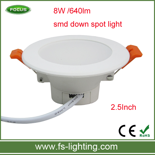 <strong>Downlight</strong> led light 8w 640lm smd down spot light 2.5inch pc led <strong>downlight</strong> plastic <strong>downlight</strong> with good price