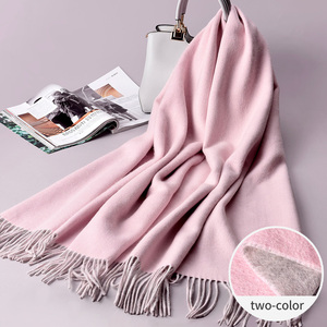 200*70 cm scarf winter woman two color Winter women thick plain 100% wool scarf with tassel long Maxi Pashmina scarf