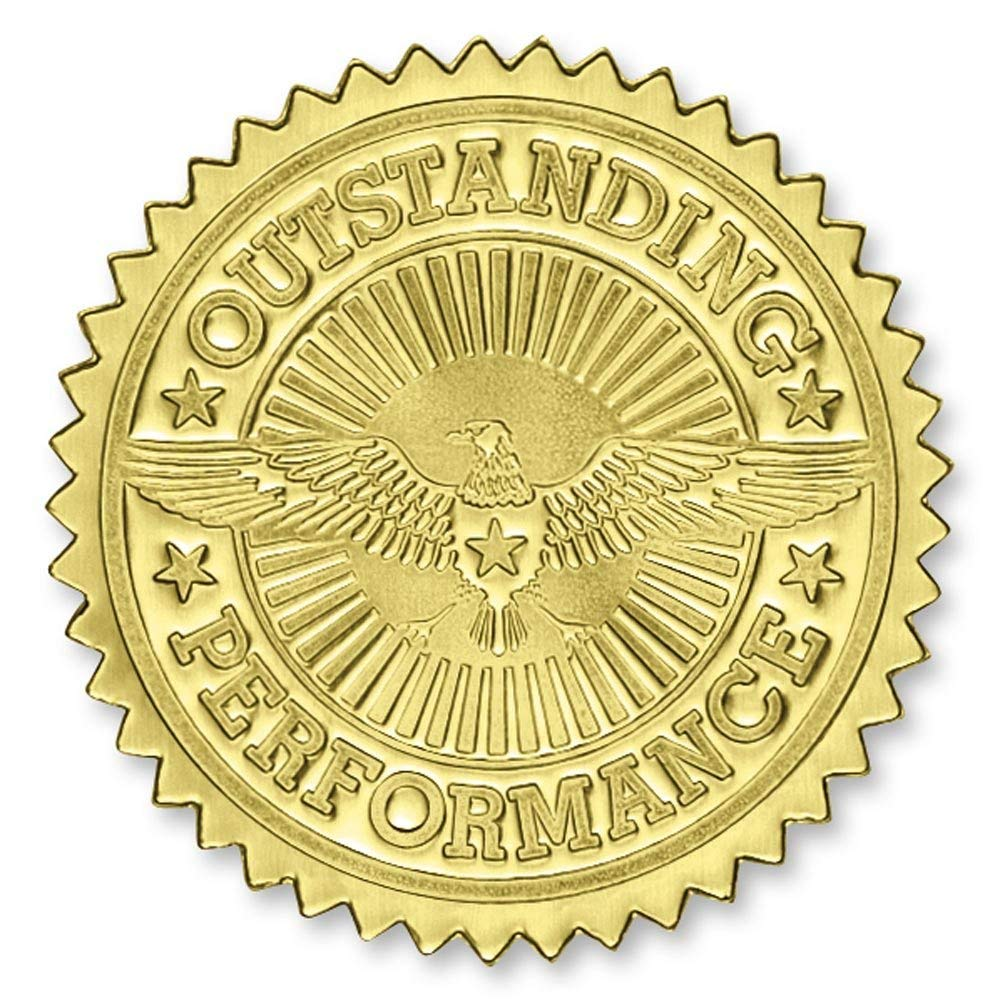 Deluxe Outstanding Performance Gold Foil Certificate Seals, 2 Inch, Self Adhesive, 102 Count