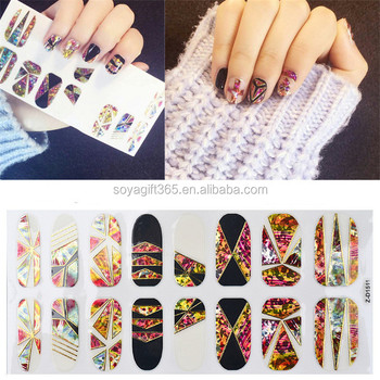 New Novelty Magic Mirror Irregular Broken Gl Pattern Nail Stickers