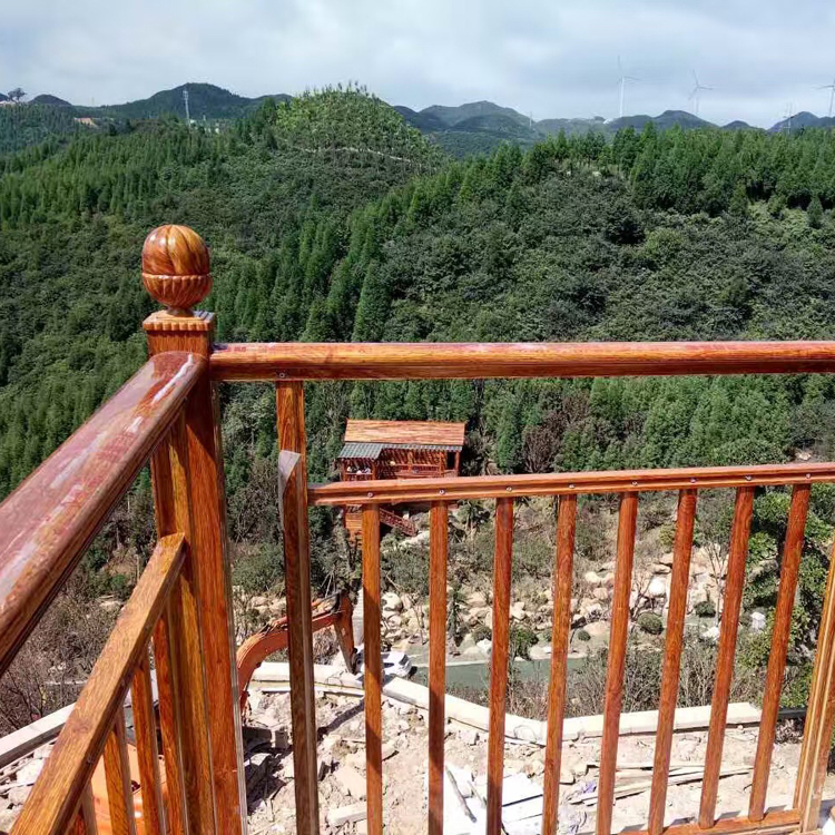 Gold color aluminum Components aluminum copper deck Stair Railing With Wood Handrail