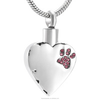 Dog Paw Engraved Pet Memorial Cremation Ashes Urn Pendant Polished Stainless Steel Dog/Cat Cremains Ashes Holder Urn Jewelry