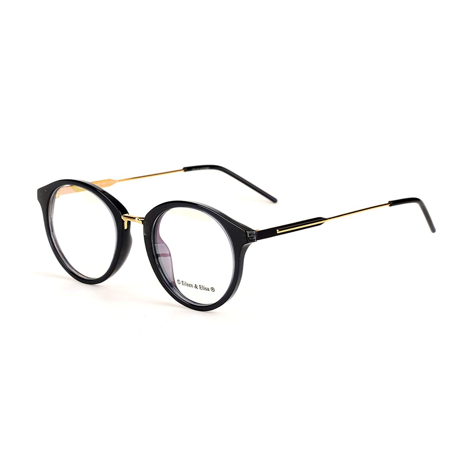 c82a2dd45dc Eileen Elisa Round Retro Glasses Frame Metal Clear Lens Reading Eyeglasses  with Case (Black Gold