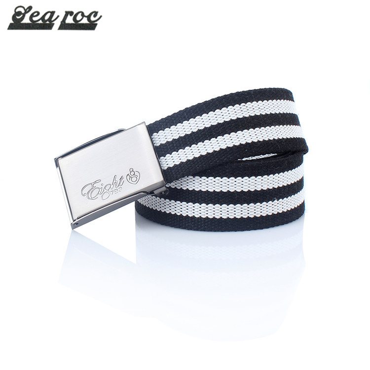 Excellent design customize fancy canvas striped belt mens