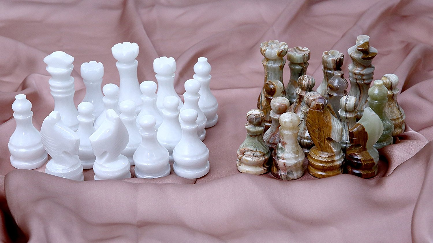 Buy RADICALn Green Onyx and White Marble Big Chess Figures