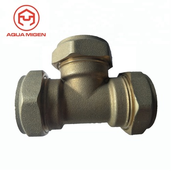 ISO 9000 15mm CNC Brass Equal Tee Compression Fitting For Plumbing