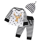 2017 Casual Newborn Baby Clothes Autumn Spring Long Sleeve Cotton Elk T-Shirt Top Striped Pants Hat 3PCS Kids Outfits Clothing