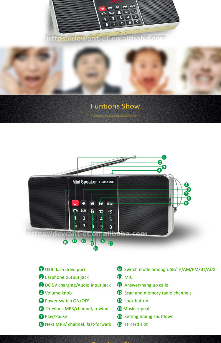 L-288AMBT Bt Radio FM Bluetooths Portabel AM FM Radio dengan Bluetooths