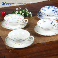 Golden Autumn Promotion wholesale ceramic cheap bulk tea cups and saucers with beautiful pattern
