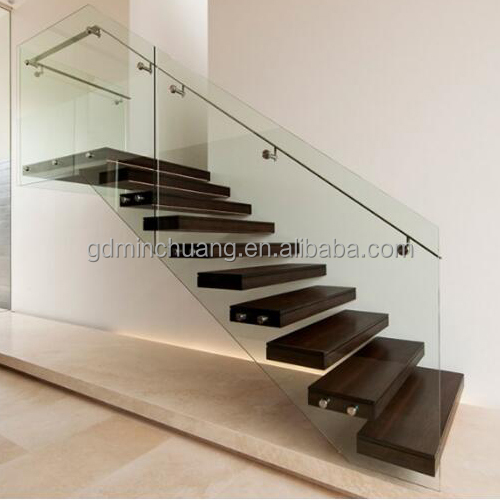 Wall Mounted Invisible Stringer Floating Stairs, Wood Stair Treads