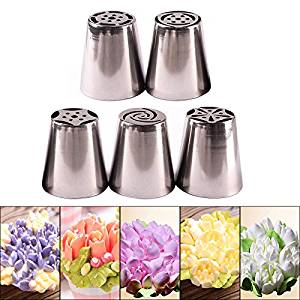 Pyracin(TM) Pastry Tips Set 5Pcs/Lot Russian Tulip Icing Piping Nozzles Kitchen Cake Decoration Decor Tips Tool #83838