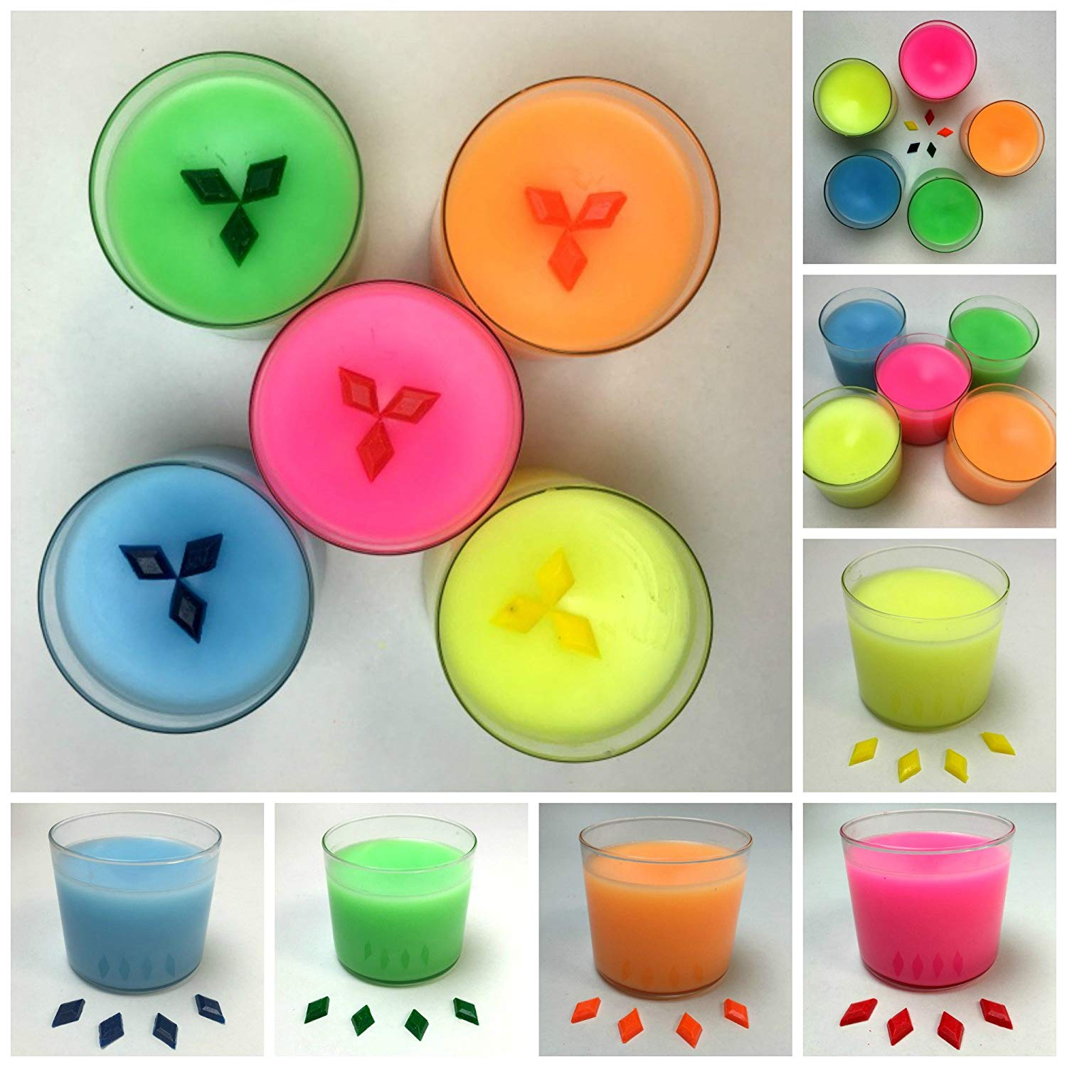 One Pack, Neon Diamond Dye Candle Coloring Sampler Pack Including: Neon Blue, Neon Pink, Neon Green, Neon Orange, Neon Yellow