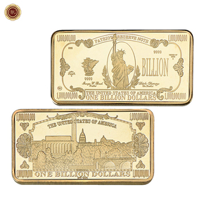2018 New 1 Billion Dollars Bills 24K Gold Bar Fake Bill Gold Commemorative Coins for Business Souvenir