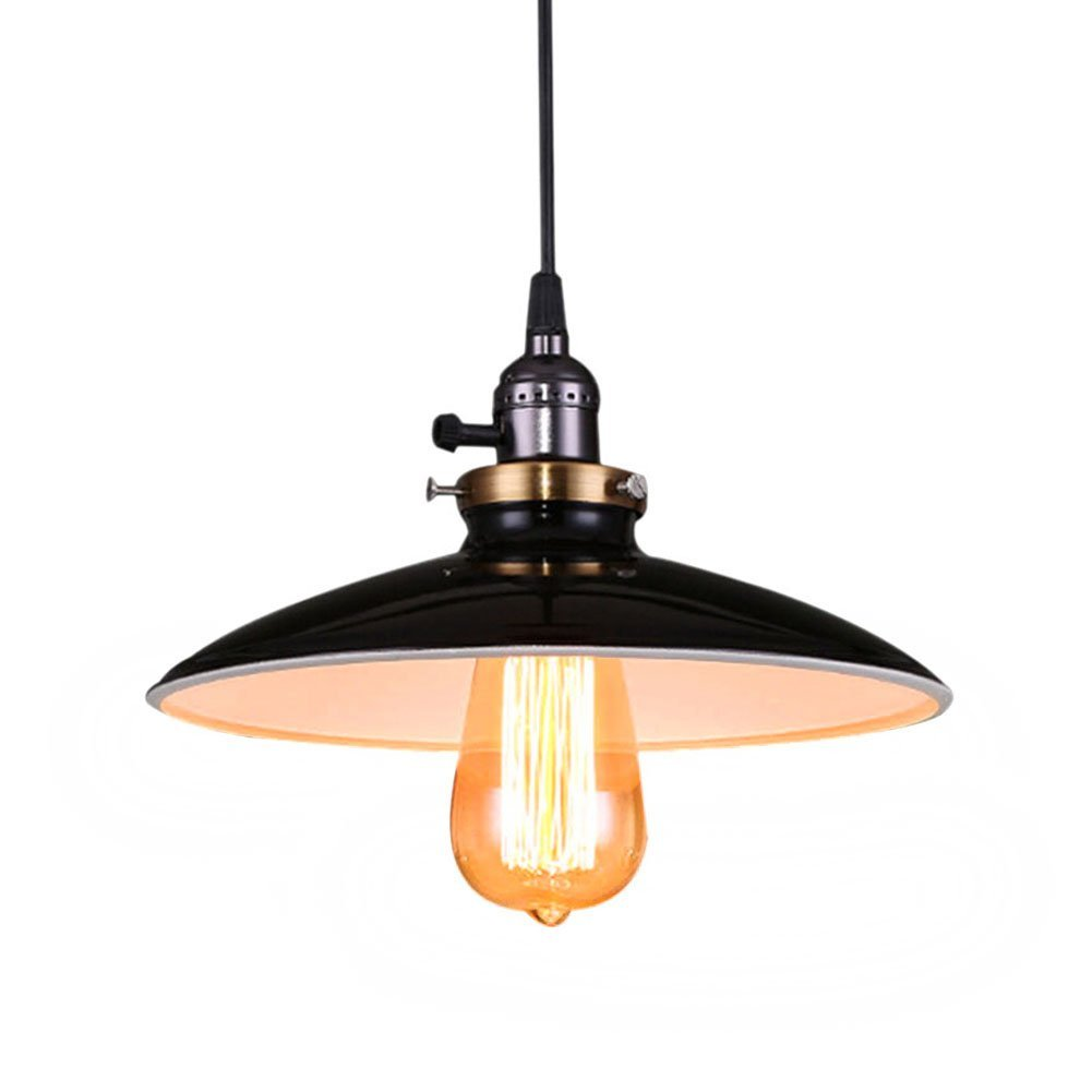 Fuloon Retro Industrial Edison Ceiling Light 1 Light Metal Shade Loft Coffee Bar Kitchen Hanging Pendant Light Lamp(Black)