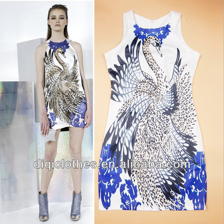 2013 best selling new fashion women dress with phoenix pattern, zipper on the back