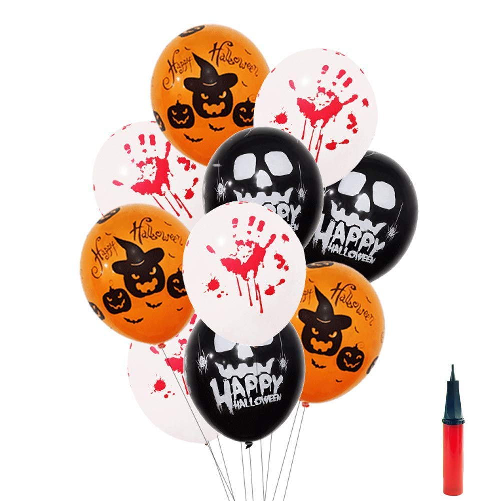 ASYBHYY Halloween Latex Balloons 12 Inches Happy Halloween/Pumpkin /Spooky/Ghost /Blood Handprint Balloons with Mini Pump for Home Party Decoration, Black, White, Orange (30 Pcs)
