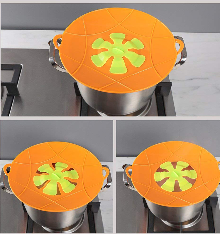 Custom Design Eco-friendly Flower Shape Spill Stopper Lid Flower Silicone Pot Cover
