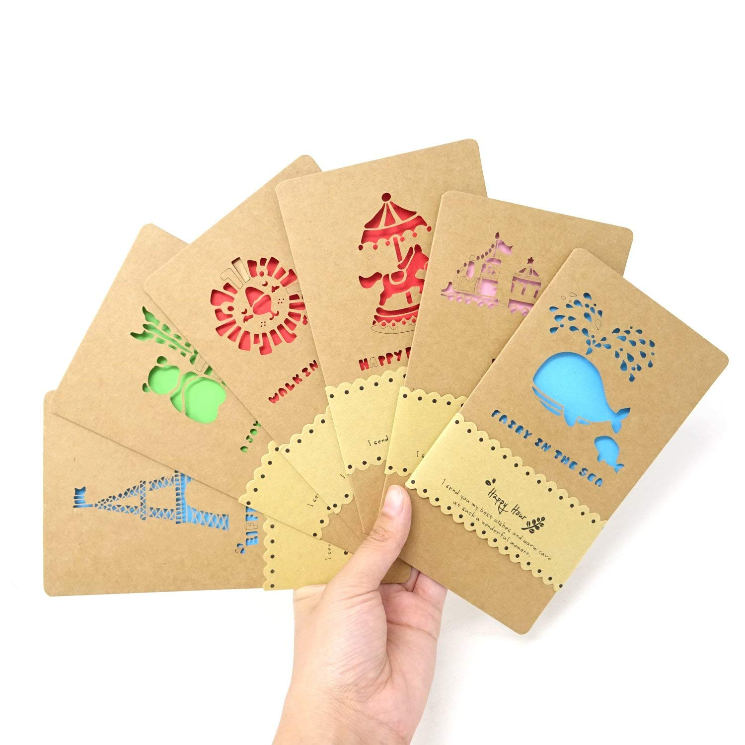 Cheap paper moon greeting cards find paper moon greeting cards get quotations honbay 6pcs cartoon hollow out kraft paper assorted all occasion greeting cards with envelopes m4hsunfo