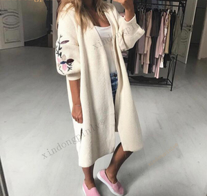 X87702A Embroidery Winter Wholesale Alibaba Long Loose Knitted Cardigan Coat women sweaters