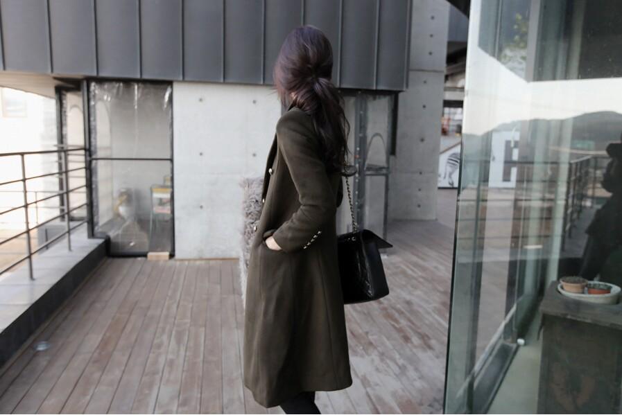 Сплошной цвет утолщаются теплый свободного покроя зимой шерстяные caot 2015 новый с длинным рукавом тонкий кнопку верхняя одежда женщин длинные широкий шерстяные пальто