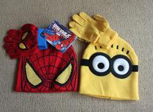 2pcs/set Hot Sale Children's Winter Cartoon Minions Glove Hat Sets Fashion Kids Baby Warm Knitted Caps Spiderman hat gloves