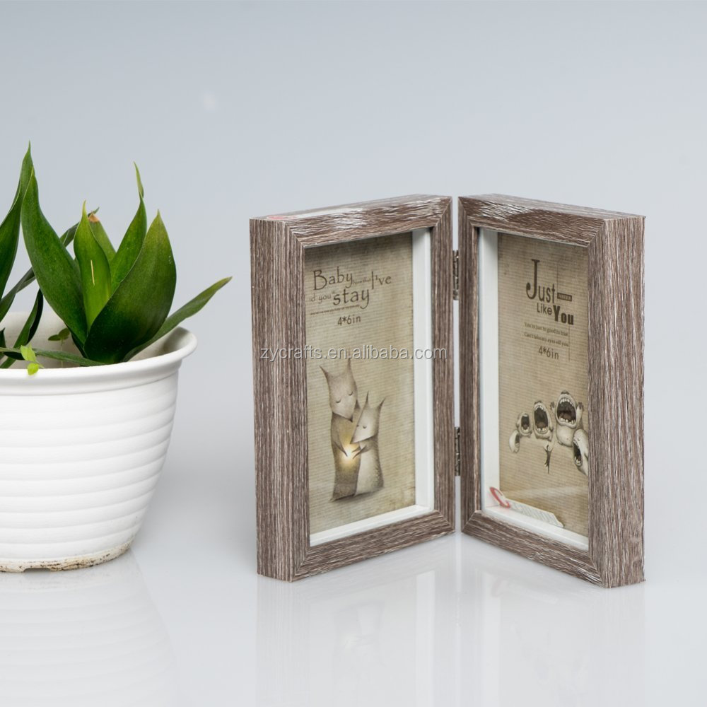 2018 new hinged double picture frames penguin wooden photo frame