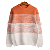 OEM 7GG winter fashion men stripes knitting orange gradient color pullover 100% Cotton casual teen boy sweater
