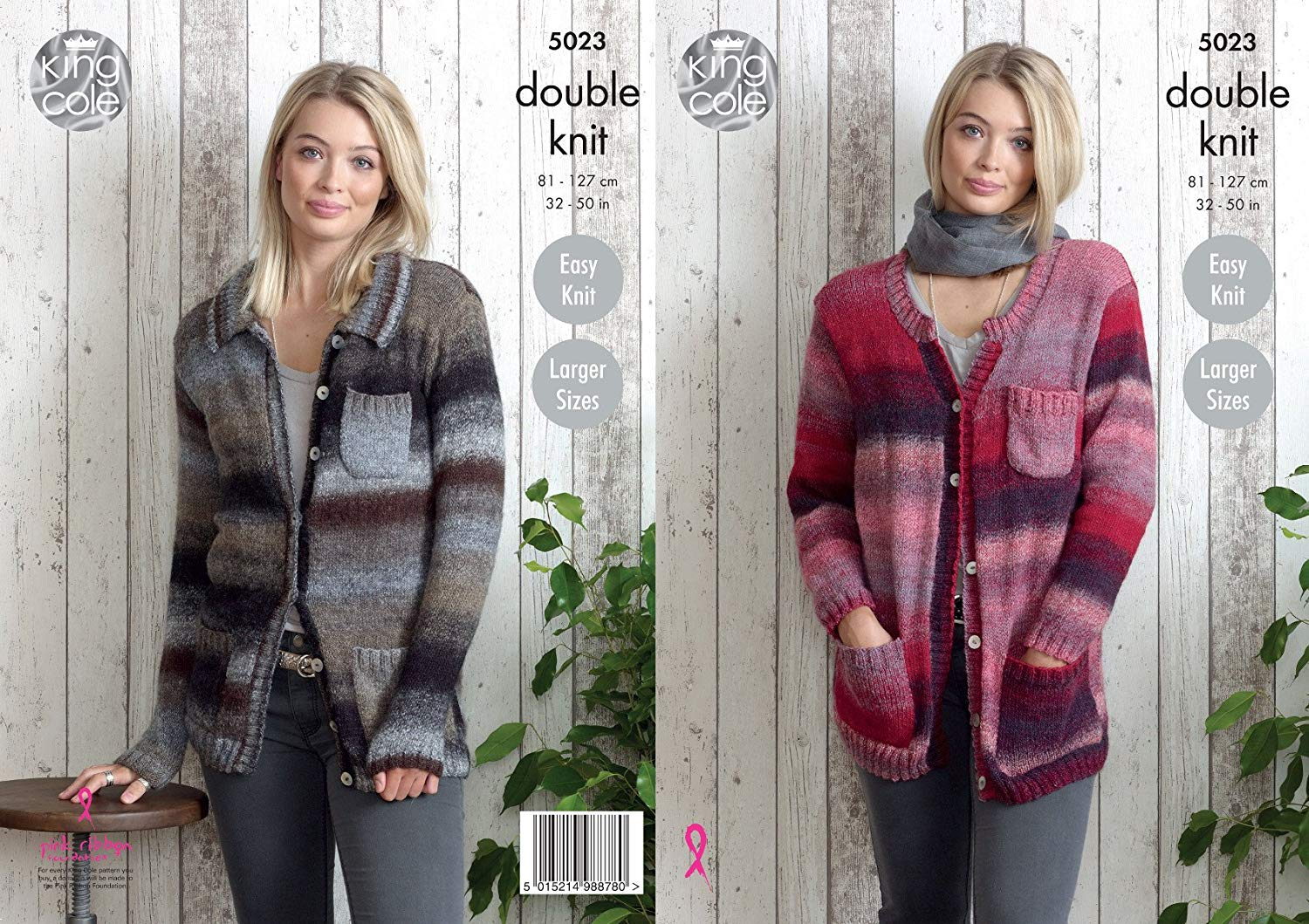f2959e700d3e44 King Cole Ladies Double Knitting Pattern Easy Knit Split Neck or Collar  Cardigan (5023)
