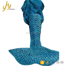 Yuhanya OEM Multi Color Knit Hollow Stripe Wholesale Little Mermaid Blanket