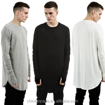 Hiphop longline oversized t shirt men fashion stock t-shirt long sleeve extended curved hem tees urban clothing men clothes