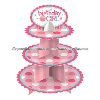 Tupfen Erste 1 Geburtstag Rosa Cupcake Stander Party Accessoire