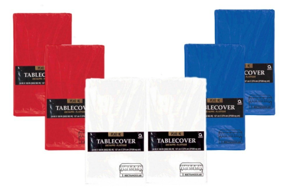 Patriotic Rectanglular Party Tablecovers - 6 Pack Bundle of (2) Red, (2) White and (2) Blue Disposable Plastic Tablecloths by Amscan