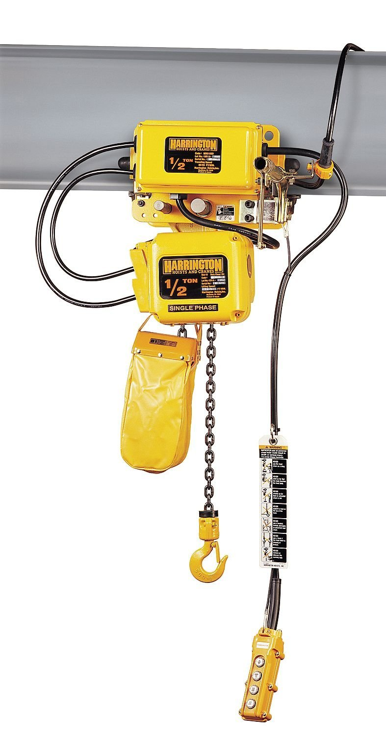 Harrington SNERM005L-L-20 Series SNER Single Phase Electrical Hook Mount Chain Hoist with Motorized Trolley, Single Low Speed, 40 fpm Low Traversing Speed, 1/2 Tons Capacity, 20' Lift