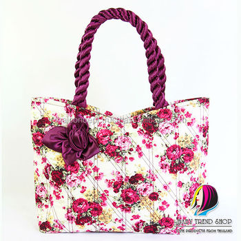 f55f3d93ffd9f Handbags : Vintage Floral Tote Bags With Front Rose Ribbon And Twisted  Fabric Handle , Cloth