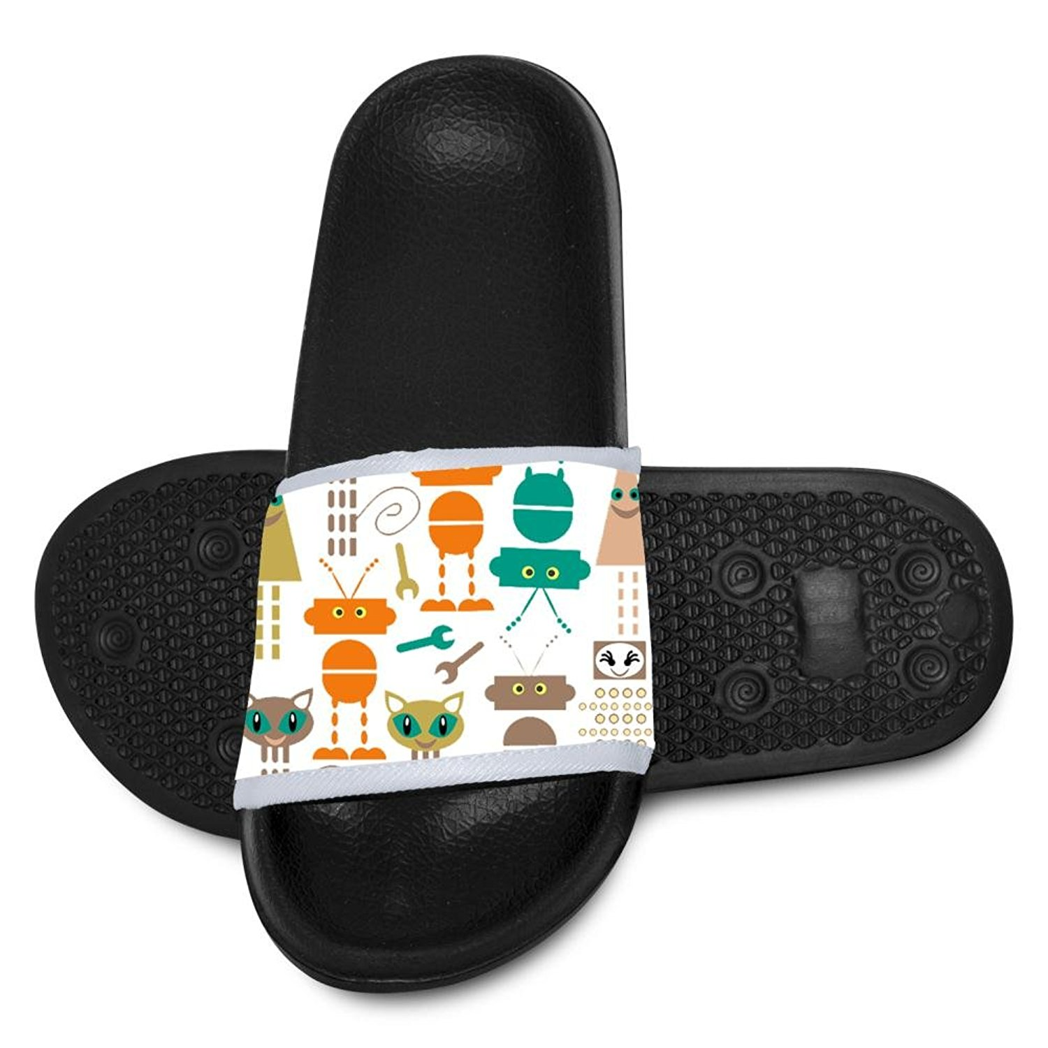 2a9aa0d0f87 Robots and Monsters Pattern Slide Sandals Indoor   Outdoor Slippers Shoes  for Kids