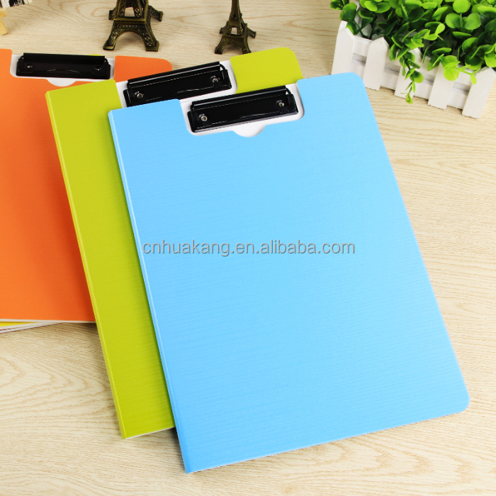 Double side PP Plastic clip board bestand a4, board clip, opvouwbare board met 4C printing