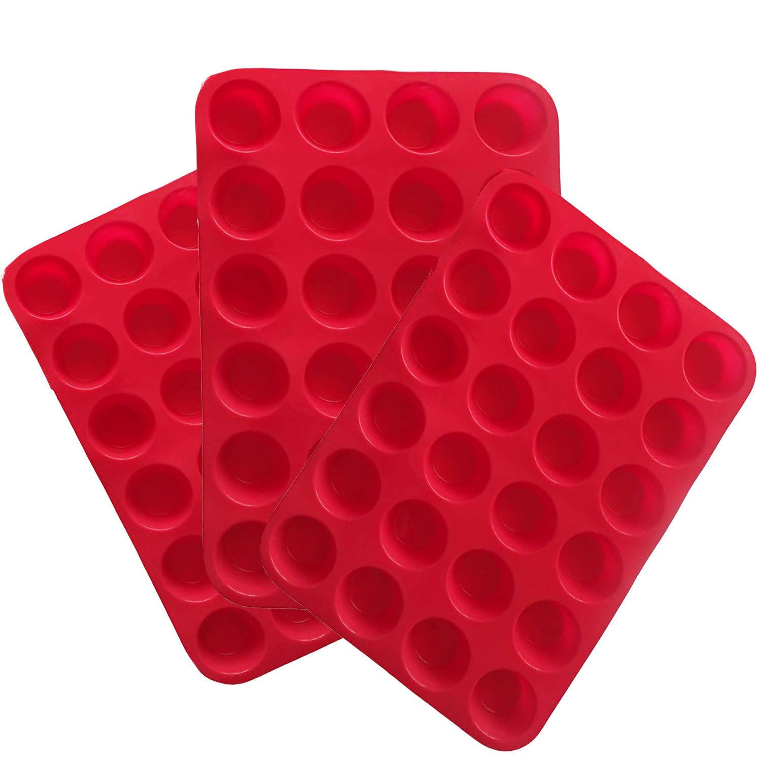 Silicone Mini Muffin Pan, 3 Pack 24 Cups Silicone Mold Cupcake Baking Pan, Silicone Muffin Tins Baking Molds (Red)