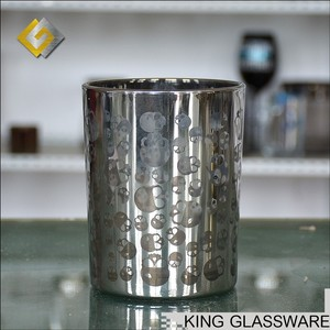 Custom OEM wholesale silver skull decoration glass candle jar