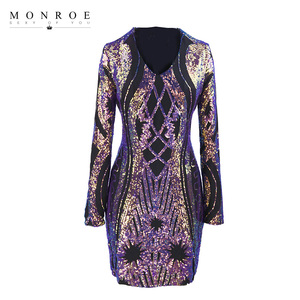 Fashion Iridescent Long Sleeves Sequin Embroidered V neck Bodycon Dress Ladies Sexy Party Wrap Mini Dress